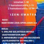 UDALEKUAK 2020: IZEN-EMATEA