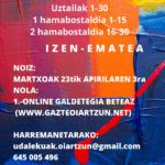UDALEKUETAKO MATRIKULAZIOA HASIKO DA. Campaña de matriculación de las colonias